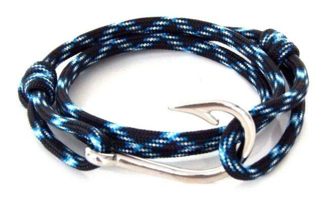 Nautical Fish Hook Bracelet Blue Hand