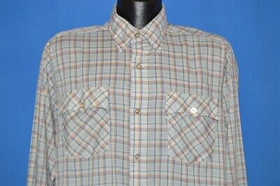 Vintage Levi/'s Red Tab Snap Button Flannel Shirt Double Pockets Button Down Plaid Check Tartan Striped Designer Brand Streetwear Size S Y427