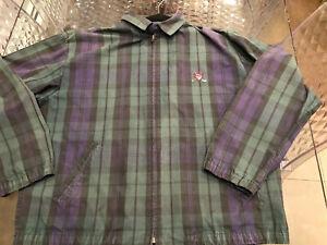 Plaid-Polo-Golf-Ralph-Lauren-Green-Full-Zip-Jacket-Size-Large-True-Vintage-PLAID