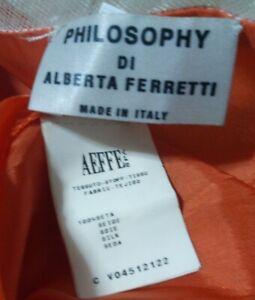 EUC PHILOSOPHY DI ALBERTA FERRETTI women's silk A-line dress w/pleated hem szUS2