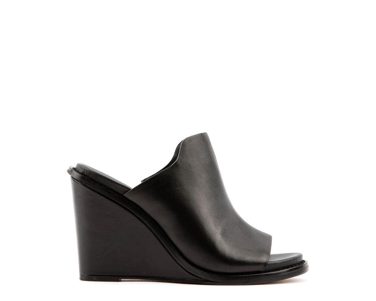 Jones Bootmaker Bootmaker Bootmaker JOSIE Peep Toe Mule High Wedge Black UK 4 EU 37 NH03 19 SALEs cffdfd