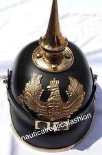 WW I&II Leather German Helmet Brass Screw Spike Pickelhaube Armor FR Leather