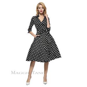 22684c193afb Maggie Tang 50s VTG Pinup 3/4 Sleeve Parka Hepburn Rockabilly Dress ...