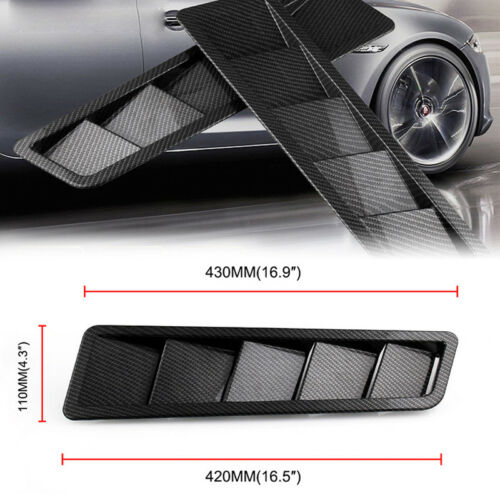 One Pair Universal Carbon Fiber ABS Style Hood Vent Louver Cooling Panel Trim