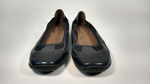 Natural-Soul-By-Naturalizer-Black-Leather-Flats-Shoes-Women-039-s-Size-11M