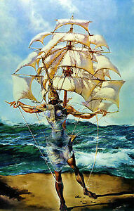 Framed Print - Salvador Dali Man and Ship in the Ocean