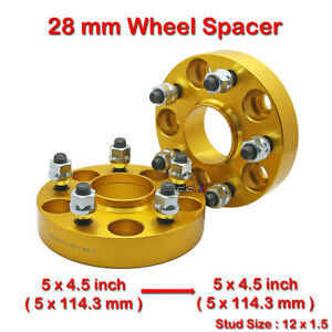 2-pcs-28mm-5-Studs-12-x-1-5-PCD-5-x-114-3-to-5-x-114-3-mm-Wheel-Spacer-Spacers