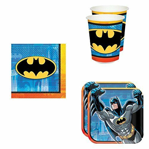 NEW Batman Birthday Party Supplies Set Plates Napkins Cups Kit for 16