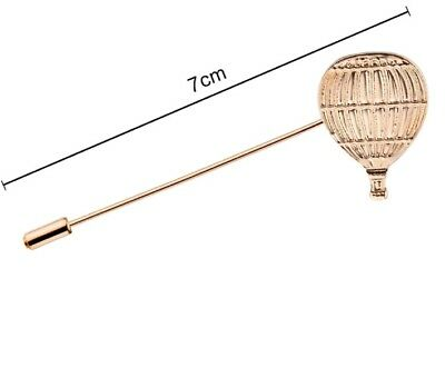GOLD HOT AIR BALLOON LAPEL PIN TIE BROOCH SCARF GENT DAPPER STEAMPUNK UNISEX