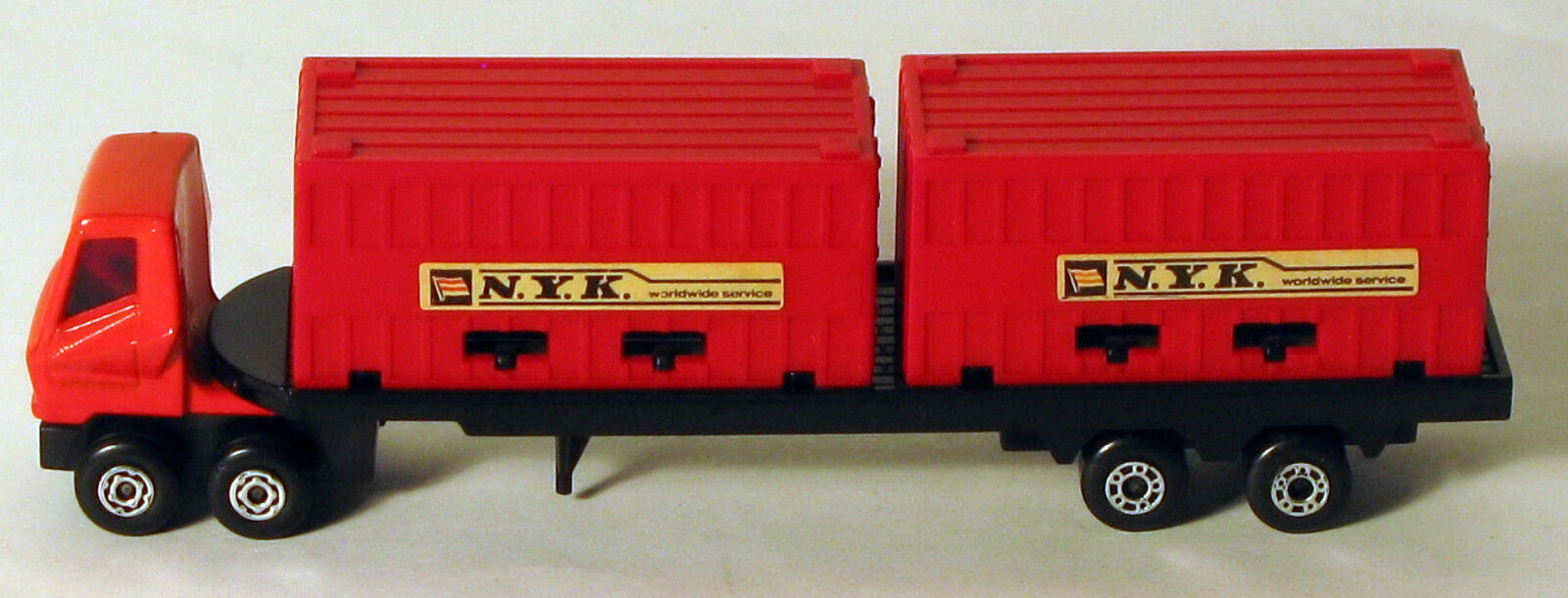 DTE LESNEY MATCHBOX CONVOY PS-1 RARE RED CAB NYK DOUBLE CONTAINER TRUCK
