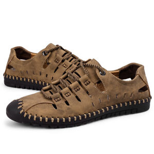 Mens-Casual-Mesh-Shoes-Slip-on-Loafers-Leather-Shoes-Driving-Summer-Breathable