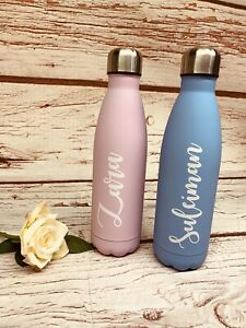 Personalised-Double-Wall-Water-Bottle-Hot-Cold-Pink-Blue-500ml-Gym-Work-Holiday