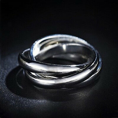 New Three Circles Stainless Steel Silver Women's Rolling Ring Size 7 8 9