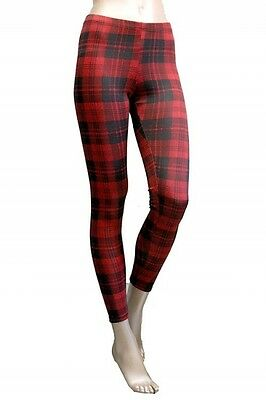 New Women Plaid Check Red Black Winter Holiday Print Leggings Tights Pants USA
