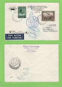 Belgio-1937-SABENA-prima-FLIGH-copertura-Brussells-a-Praga-con-volo-Compresse