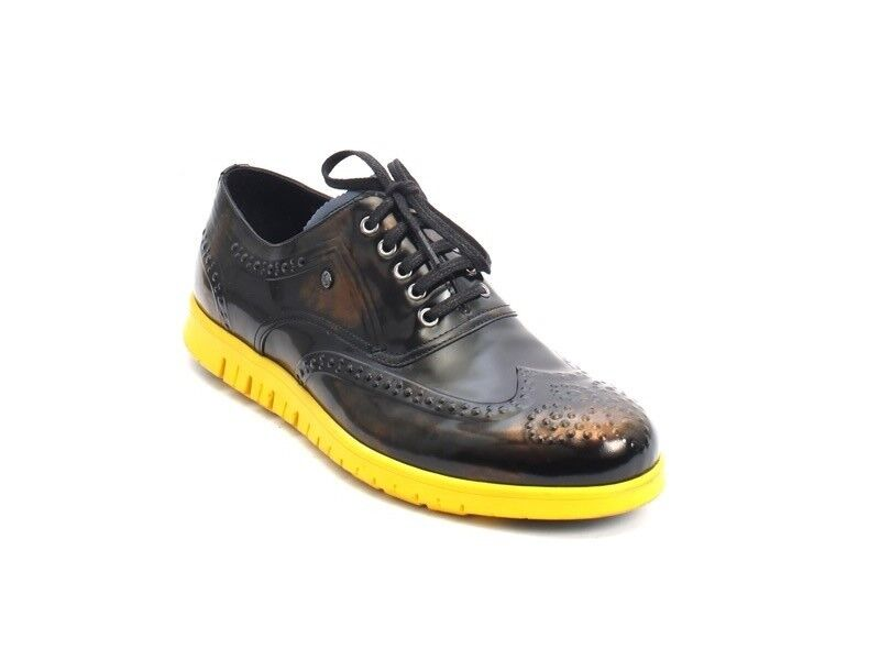 ROBERTO SERPENTINI 23909 Black / Navy / Yellow Leather Lace-Up Shoes 42 / US 9