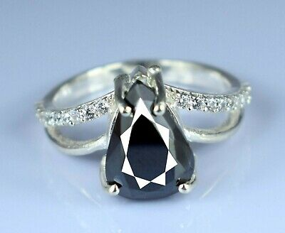 Cyber Monday Discount 4 57 Ct Black Diamond Solitaire Pear Cut Ring Certified Ebay