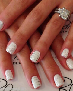 Glitter Silver Gold Lace Stripes 3d Nail Art Stickers Decals Nail