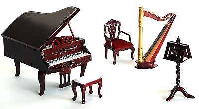 Wooden Mahogany Musical Room Doll House Furniture Set