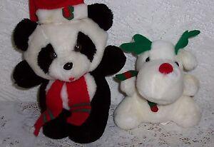 Vintage Christmas Panda Bear & Reindeer 1980's
