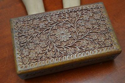 HANDMADE ROSEWOOD HAND CARVED WOOD CHEST JEWELRY BOX #F-198