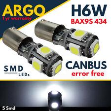 2X BAX9s H6W 434 CANBUS ERROR FREE BLUE 5 LED SIDELIGHT BULBS HID SL101501