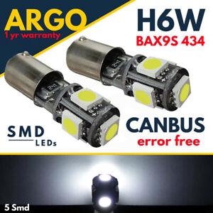 H6w-Bax9s-LED-Blanco-5-SMD-lado-coche-de-bayoneta-Bombillas-Canbus-Libre-De-Error-433-434
