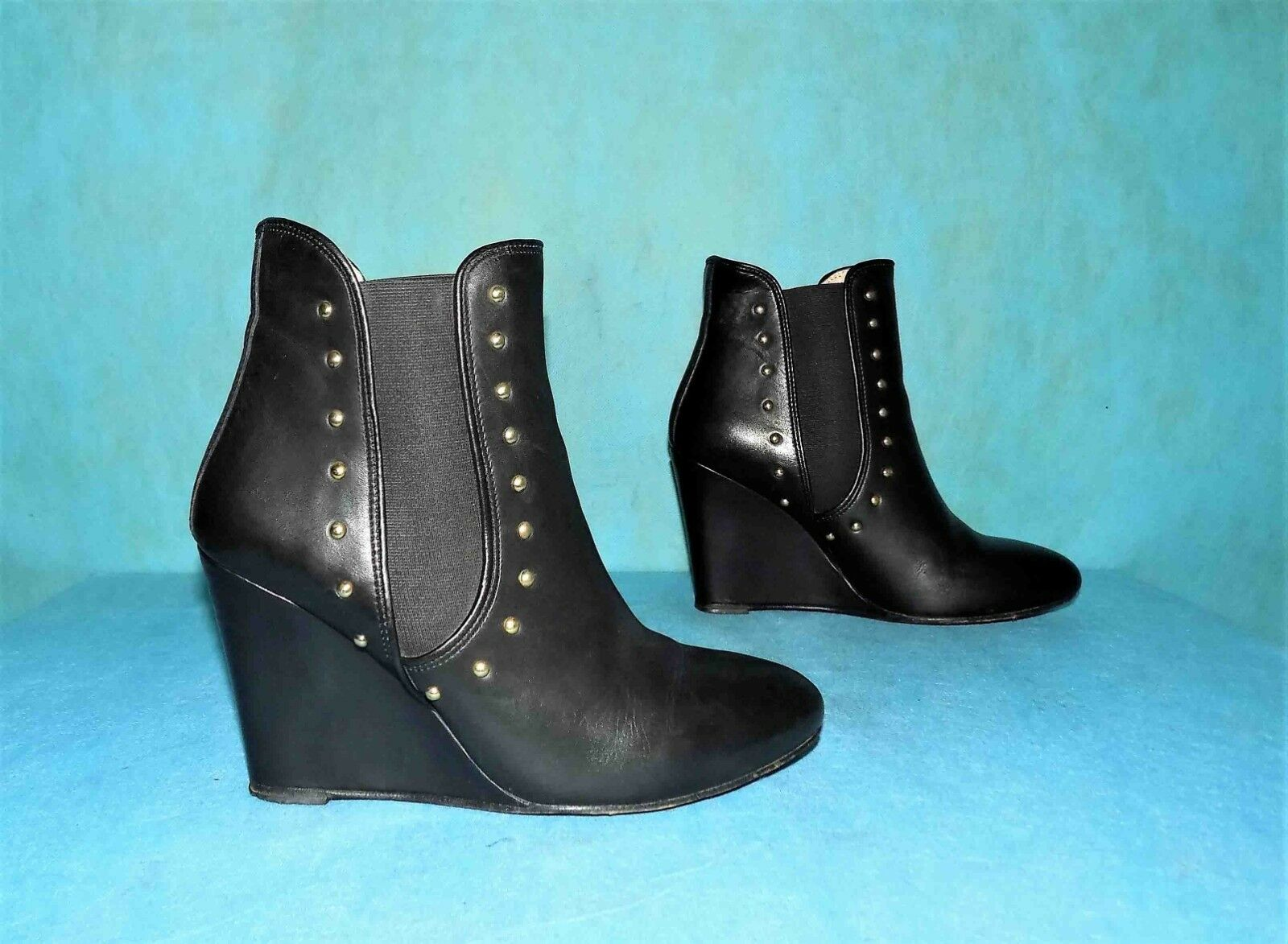 Boots booties wedge PABLO GERARD DAREL black leather p 40 fr very good condition