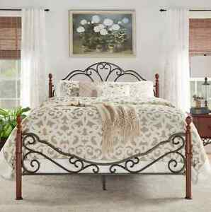 image is loading iron bed bronze frame bedroom furniture headboard footboard - Distressed Bed Frame