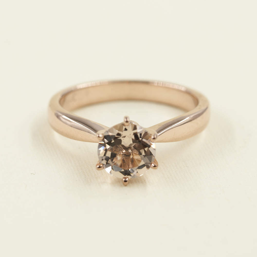 14k solid pink gold Morganite Engagement solitare ring .Solid Engage unique ring