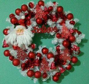 Large Christmas Wreath Santa Holiday Red White Decorations Believe