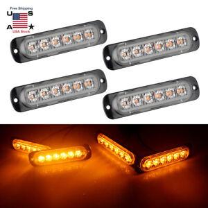 4pcs-6LED-12V-Amber-Police-Strobe-Flash-Light-Dash-Emergency-Hazard-Warning-Lamp