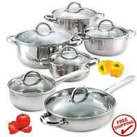 12pc Pot Pan Cookware Set Stainless Steel Nuwave Induction Stove Frying Cooking