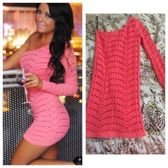 NWT bebe coral lace one shoulder slash long sleeve bodycon top dress M L 6 8