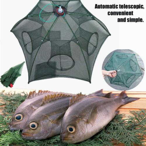 Foldable 6 HolesFishing Bait Trap Crab Net Crawdad Shrimp Cast Dip Cage Minnow