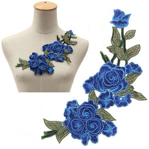 Embroidery-Blue-Rose-Flower-Sew-On-Patch-Badge-Dress-Applique-Motif-DIY-Craft