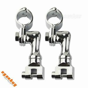 Motorcycle-1-1-2-034-Engine-Guard-Longhorn-Highway-Bar-Offset-Foot-Peg-Rest-Clamps