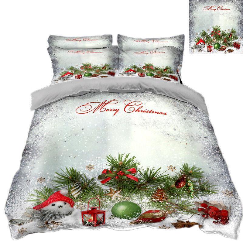 3D Christmas Xmas Snow 4162 Bett Pillowcases Quilt Duvet Startseite Set Single KönigUK