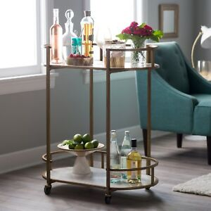 Modern Glam Gold Metal Marble Serving Cart Buffet Server Mobile Home Bar Cart