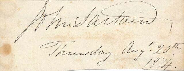 John Sartain - Signature of the English-American Artist - 1874