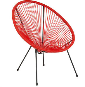 Outdoor Lounge Chair Red Oval Shaped