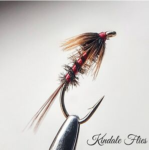 Red Holo Cheek Black Crunchers size 14 Fly Fishing Flies Trout Set of 3