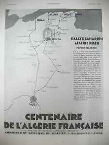 PUBLICITE-DE-PRESSE-ALGERIE-FRANCAISE-CENTENAIRE-RALLYE-SAHARIEN-NIGER-AD-1929