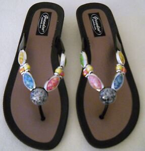 0a2e83bd700d9e GRANDCO SANDALS Dressy Beach Pool THONG BLING Black Frosted JEWELED ...