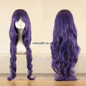 80cm-Largo-Ondulado-y-Rizado-Cosplay-Peluca-en-purpura-de-color-grisaceo-vendedor-del-Reino-Unido