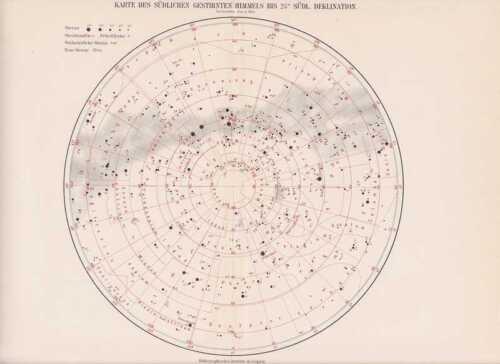 Sternenkarte Sternenkarte Südlicher Himmel Tierkreiszeichen LITHOGRAPHIE  1898