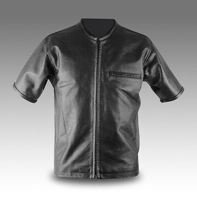 Mens Perforated Metallic Leather Shirt Brand New LLL-248 SMALL TO 4XL