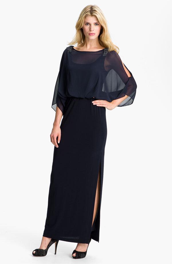 Xscape Embellished Split Sleeve Blouson Gown (size 2)