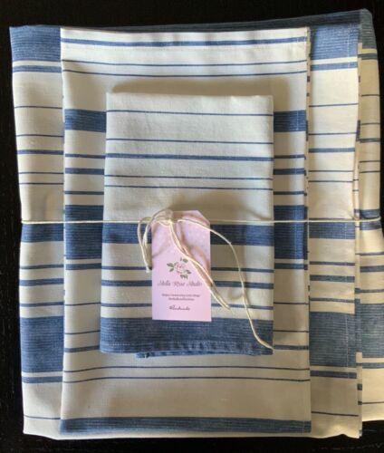 NEW LINEN BLEND HANDMADE BATH TOWELS SET of 3-COTTAGE STRIPE FRENCH BLUE