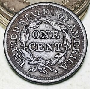 1849 Large Cent Matron Braided Hair 1C Higher Grade Choice US Copper Coin CC6738